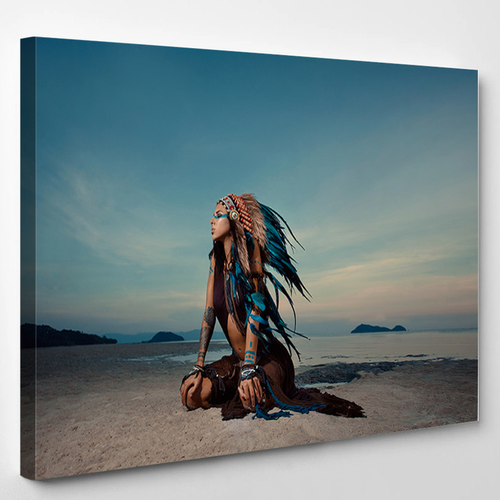 Indian Woman Outdoors At Sunset Native American Style Background With Free Text Space - Abstrast Canvas Art Print