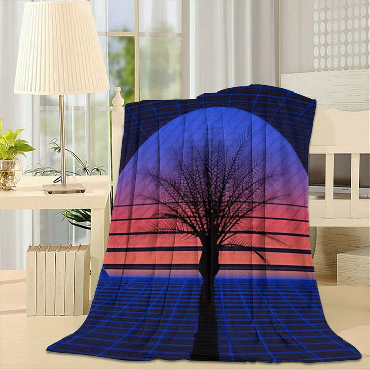 1980S Retro Futuristic Background Sunset Laser 1 - Galaxy Sky and Space Throw Blanket