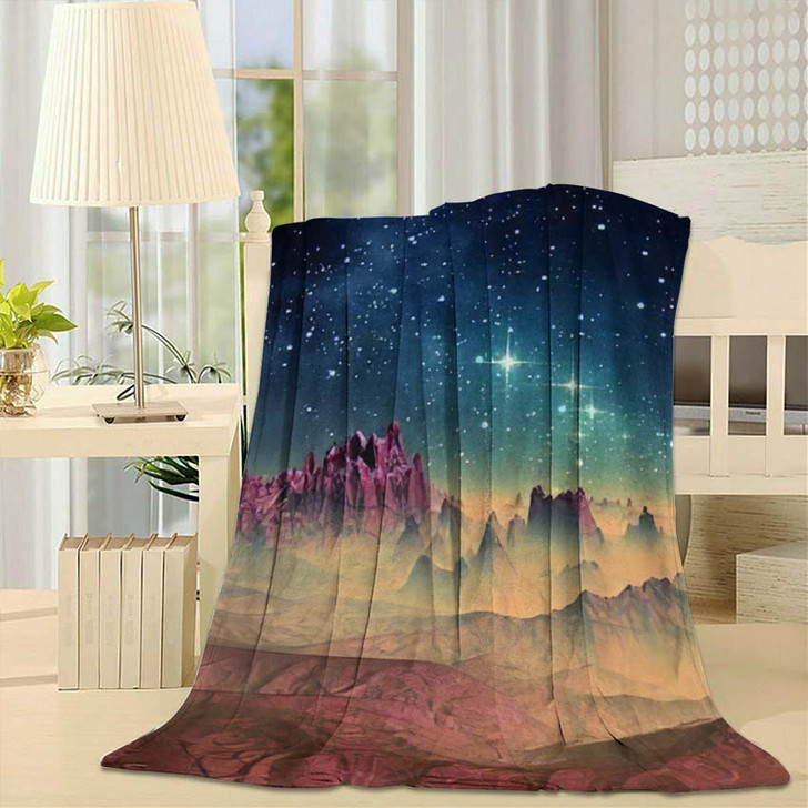 3D Created Rendered Fantasy Alien Planet 1 - Galaxy Sky and Space Throw Blanket