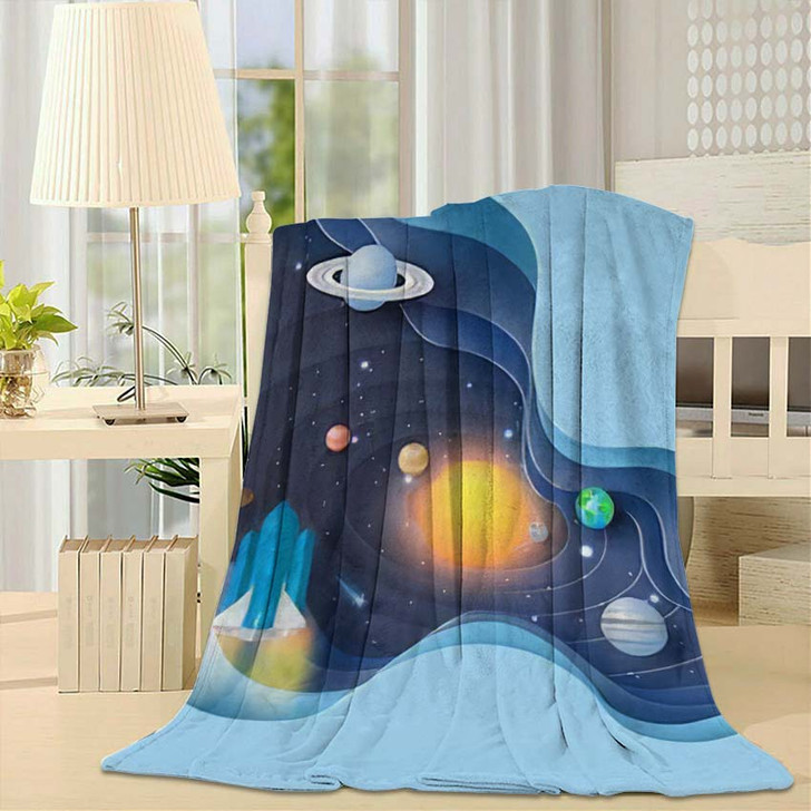 3D Paper Art Abstract Curve Wave - Galaxy Sky and Space Throw Blanket