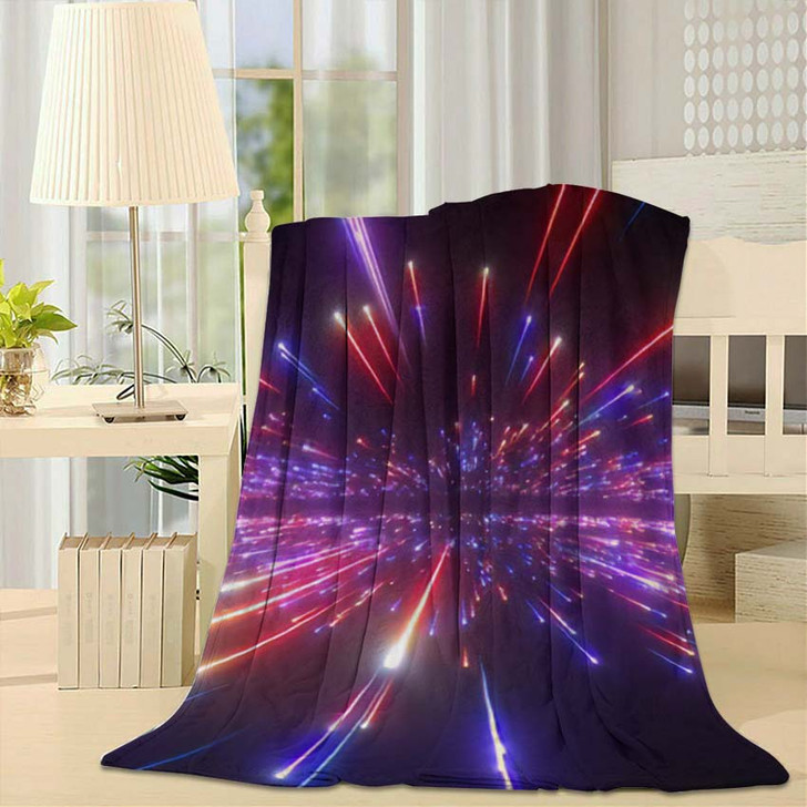 3D Render Red Blue Fireworks Abstract - Galaxy Sky and Space Throw Blanket