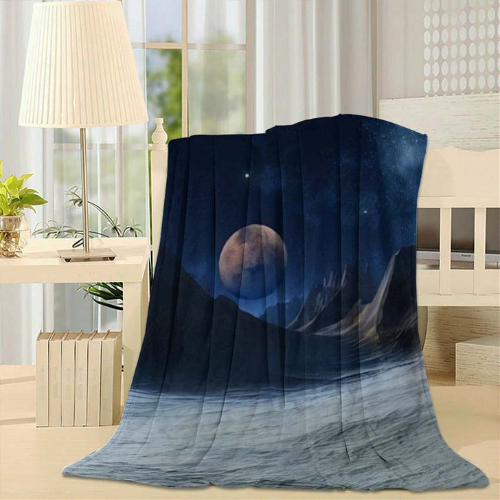3D Rendered Fantasy Alien Landscape Illustration 1 - Galaxy Sky and Space Throw Blanket