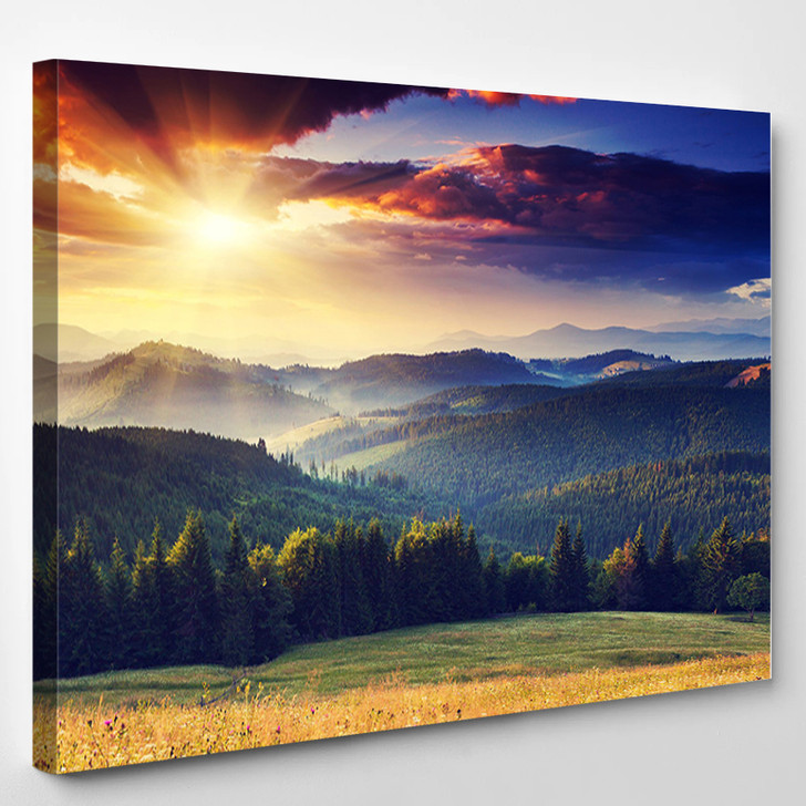 Majestic Sunset In The Mountains Landscape Dramatic Sky - Nature Canvas Art Print
