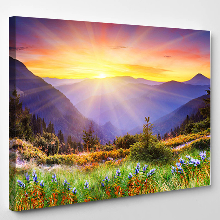 Majestic Sunset In The Mountains Landscape - Nature Canvas Art Print