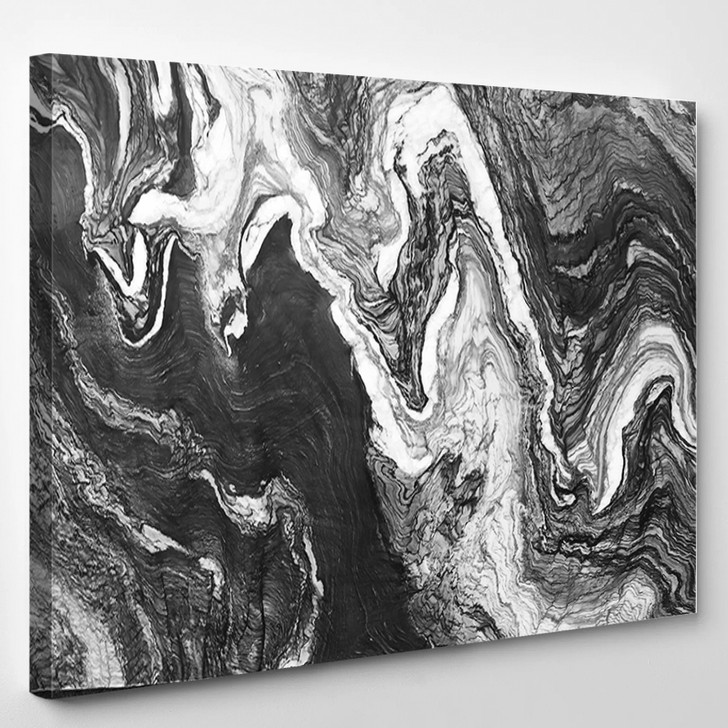Marble Layers Design Gray Stone - Abstrast Canvas Art Print
