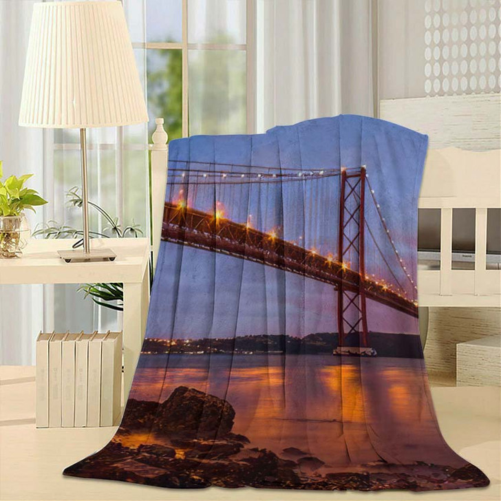 25 De Abril Bridge Over Tagus 1 - Landmarks and Monuments Throw Blanket