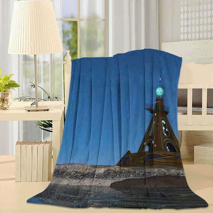 3D Cg Rendering Lighthouse - Landmarks and Monuments Throw Blanket