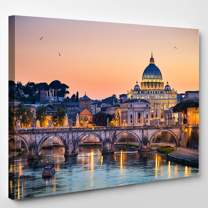 Night View Of The Basilica St Peter Rome Italy - Landscape Canvas Art Print
