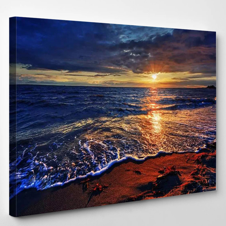 Ocean Beach With A Breaking Wave - Nature Canvas Art Print