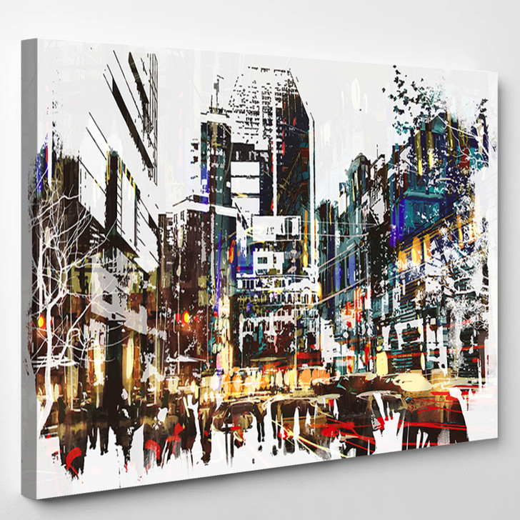Painted City - Abstrast Canvas Art Print