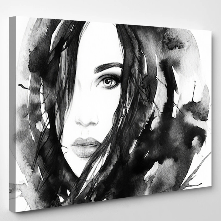 Painted Girl - Abstrast Canvas Art Print