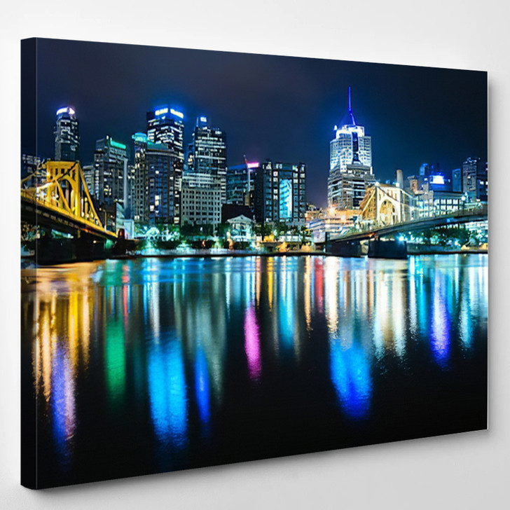 Pittsburgh Skyline Reflecting In The Allegheny River Pennsylvania - Landscape Canvas Art Print