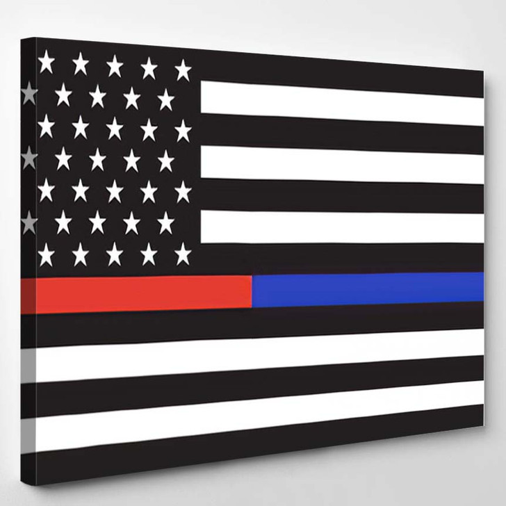 Vector Thin Blue Line Red Police - Thin Blue Line Canvas Art Print