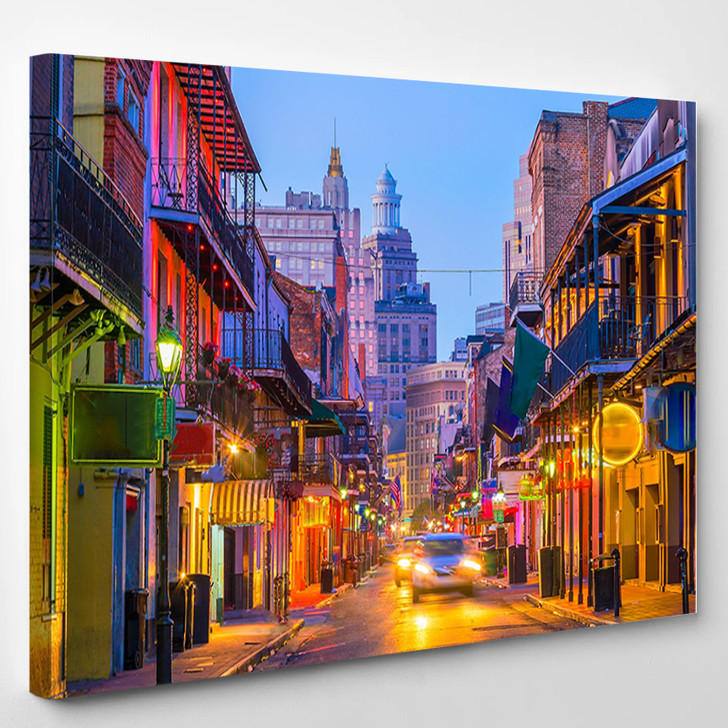 Pubs And Bars In The French Quarter New Orleans Usa - Landscape Canvas Art Print