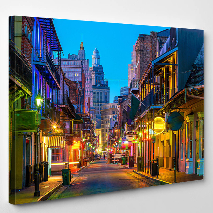 Pubs And Bars With Neon Lights In The French Quarter New Orleans Usa - Landscape Canvas Art Print