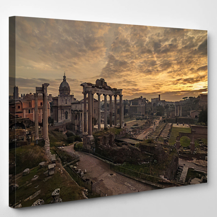 Rome Italy The Roman Forum Old Town Of The City - Landscape Canvas Art Print