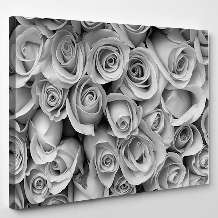 Rose Flower Bouquet Black And White - Nature Canvas Art Print