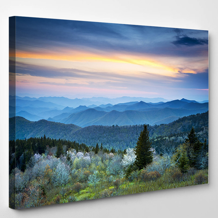 Scenic Blue Ridge Parkway Appalachians Smoky Mountains Spring Landscape With May Blossoms - Landscape Canvas Art Print