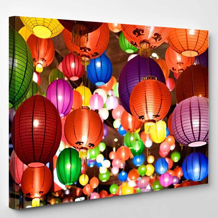 Colorful Chinese Lanterns New Year Festival - Festival Canvas Art Print
