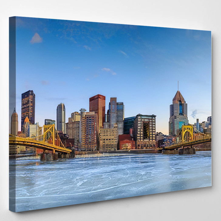 Skyline Of Downtown Pittsburgh At Twilight Panorama - Landscape Canvas Art Print