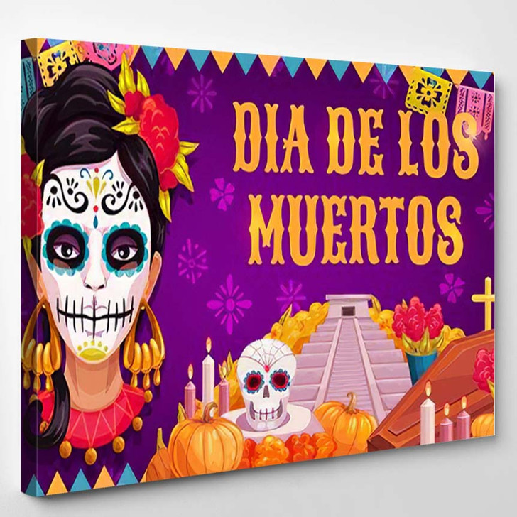 Mexican Traditional Religious Holiday Day Dead - Festival Canvas Art Print