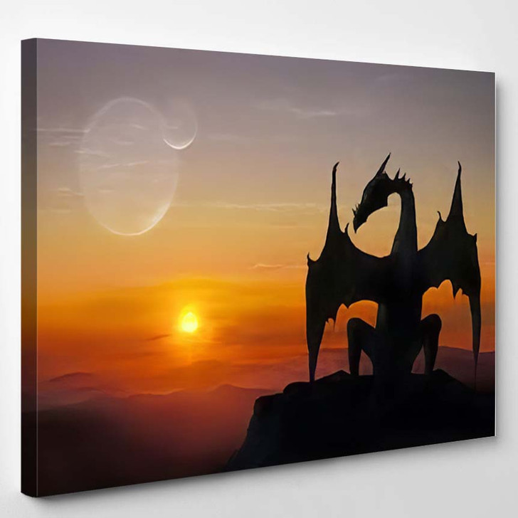 3D Illustration Black Dragon On Stone - Dragon Animals Canvas Art Print