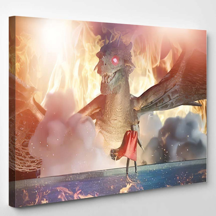 3D Illustration Fantastic Dragon Versus Man - Dragon Animals Canvas Art Print