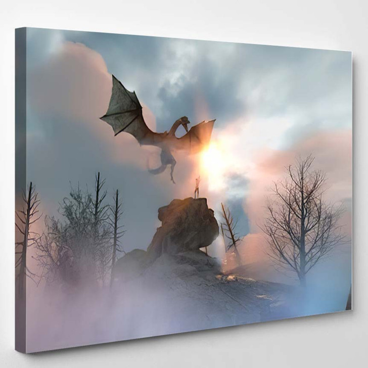 3D Illustration Knight Fighting Dragon Versus - Dragon Animals Canvas Art Print