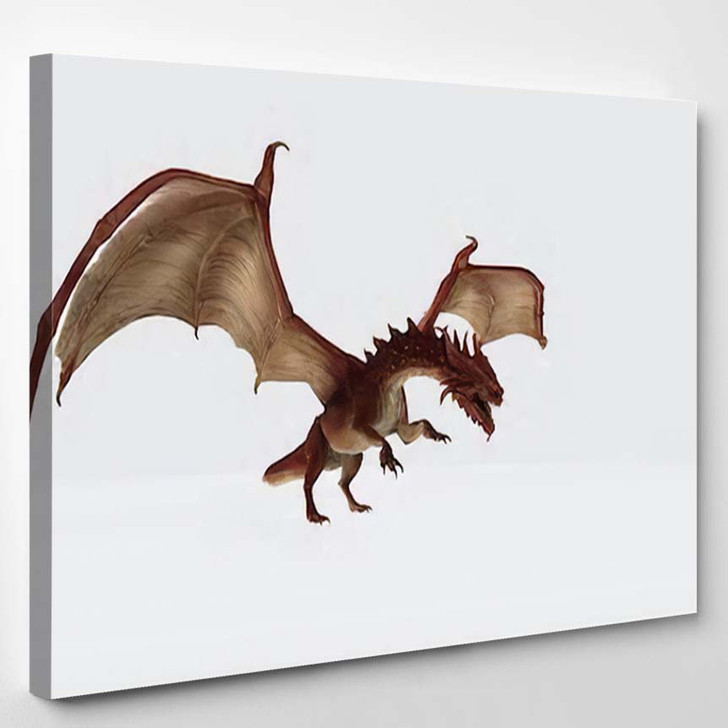 3D Illustration Red Dragon Rendering Fairy - Dragon Animals Canvas Art Print