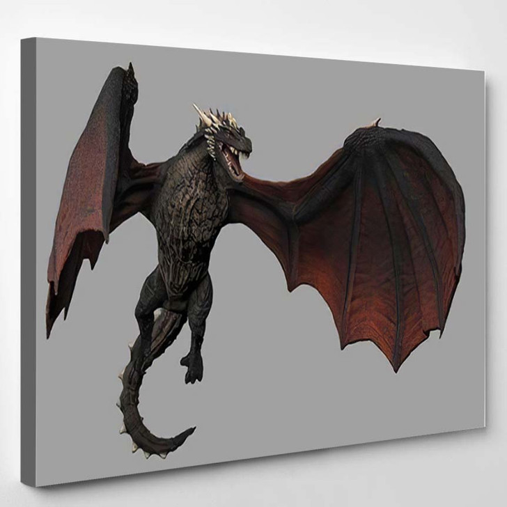 Dragon Air Gray Background Isolated 3D - Dragon Animals Canvas Art Print