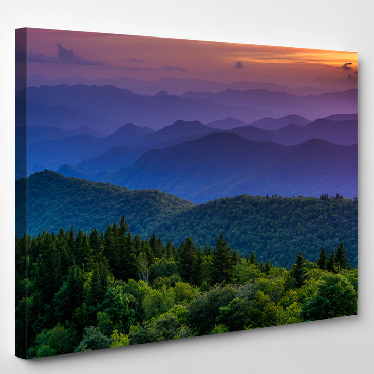 Sunset From Cowee Mountains Overlook On The Blue Ridge Parkway In North Carolina - Nature Canvas Art Print
