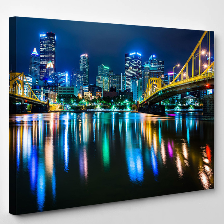 The Pittsburgh Skyline Allegheny River At Night Pennsylvania - Landscape Canvas Art Print