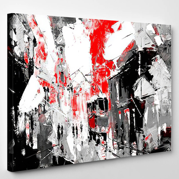 Urban City Life Sin City Inspiration Black And Red Color - Abstrast Canvas Art Print