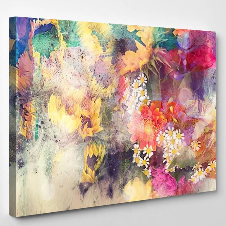 Watercolor Painting Combined With Field - Abstrast Canvas Art Print