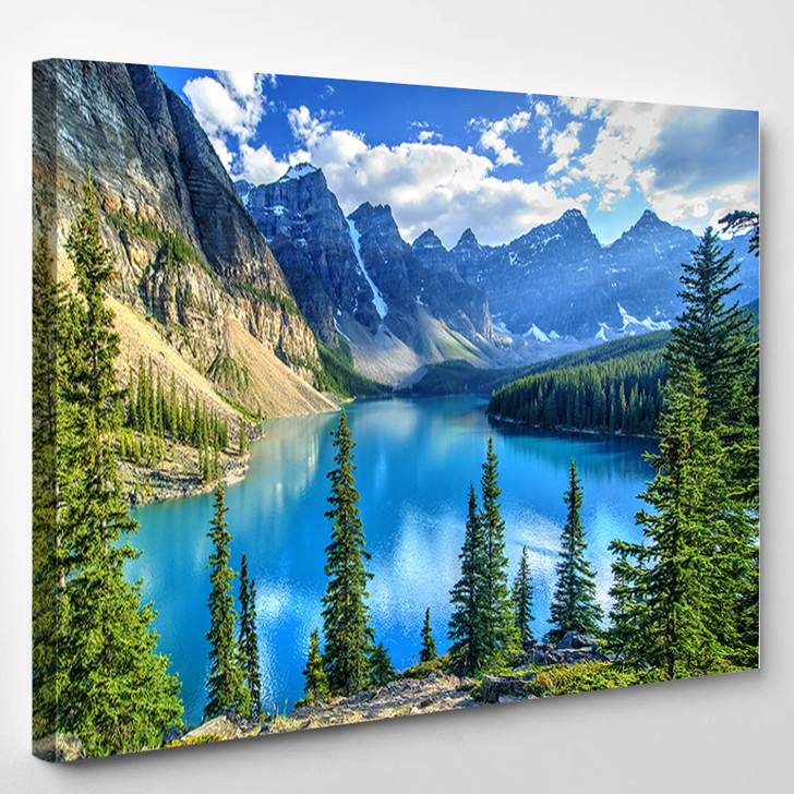 Wenkchemna Peaks Reflection On Moraine Lake Banff Rocly Mountain Canada - Nature Canvas Art Print