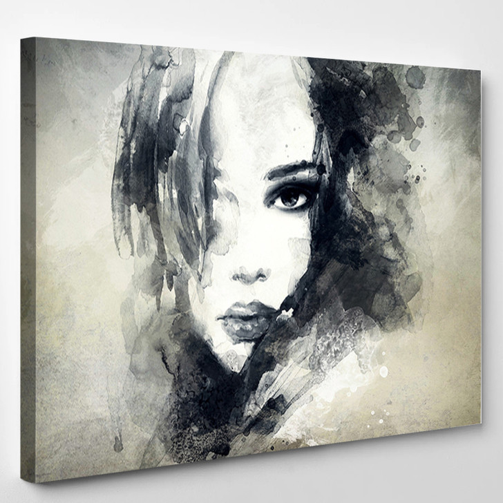 Woman Face Hand Painted Fashion Illustration - Abstrast Canvas Art Print