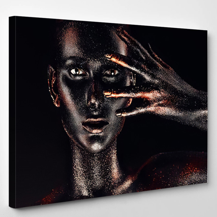 Woman In Black Paint Body - Abstrast Canvas Art Print