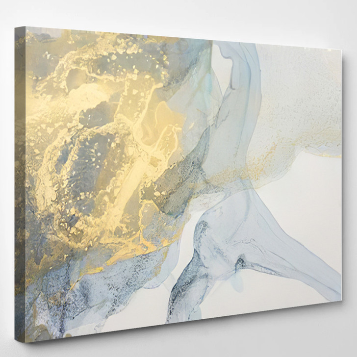 Yellow And Blue Abstract - Abstrast Canvas Art Print