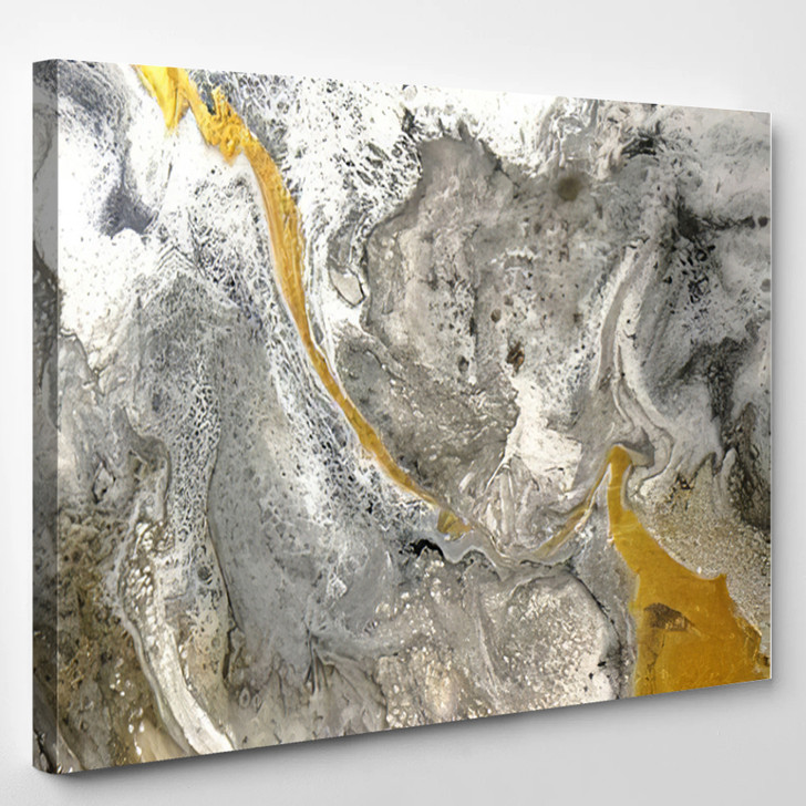 Yellow And Gray Abstract - Abstrast Canvas Art Print