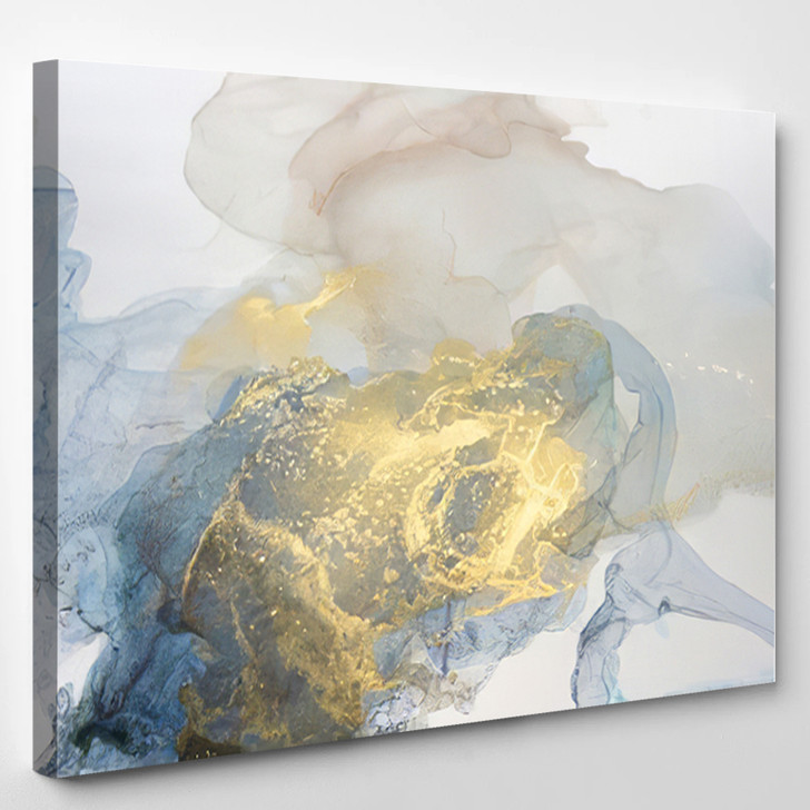 Yellow Gray And Blue Modern Abstract - Abstrast Canvas Art Print