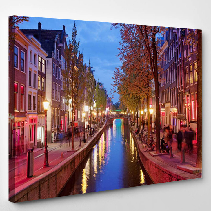 Amsterdam Red Light District Area In The City Centre At Dusk North Holland The Netherlands - Landscape Canvas Art Print