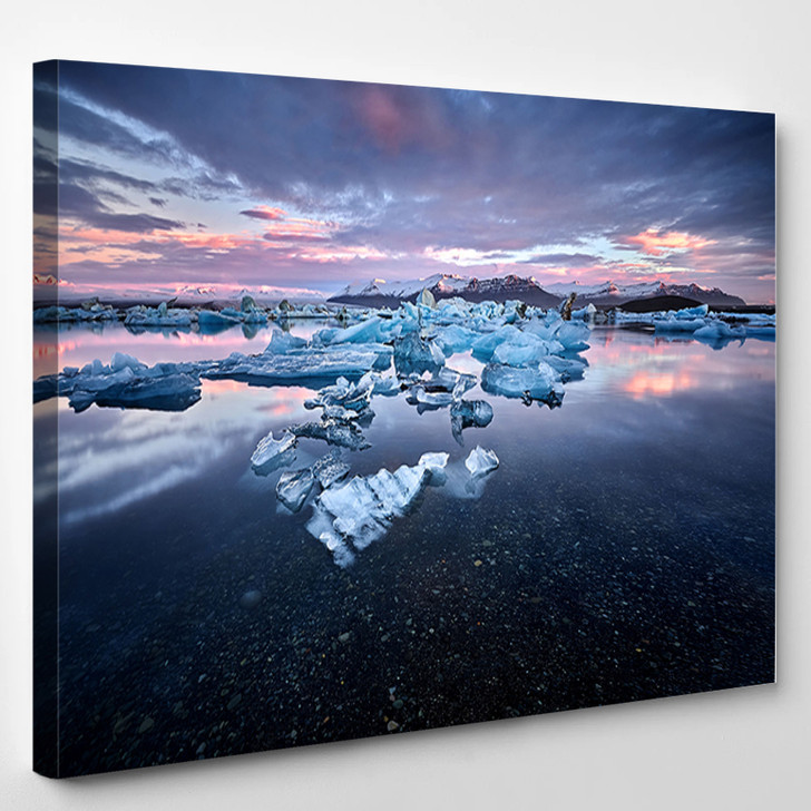 Beautiful Cold Landscape Picture Of Icelandic Glacier Lagoon Bay Iceland - Nature Canvas Art Print