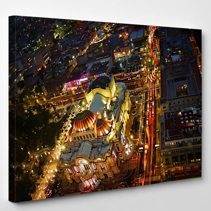 Beautiful Top View Of Bellas Artes At Night Mexico City Mexico - Landscape Canvas Art Print