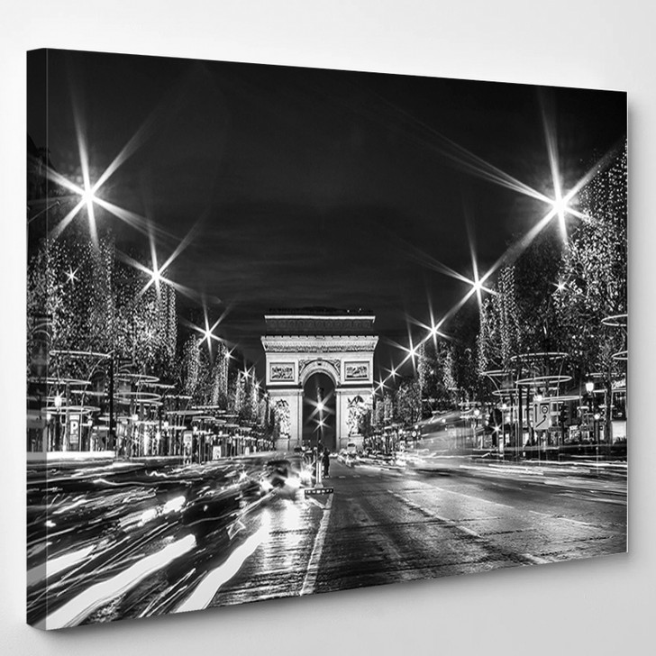 Black And White Paris Evening Traffic On Champs - Elysees In Front Of Arc De Triomphe - Landscape Canvas Art Print