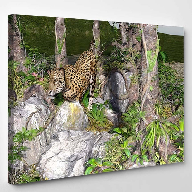3D Artwork Leopard Hunting Wild - Hunting and Fishing Canvas Art Print