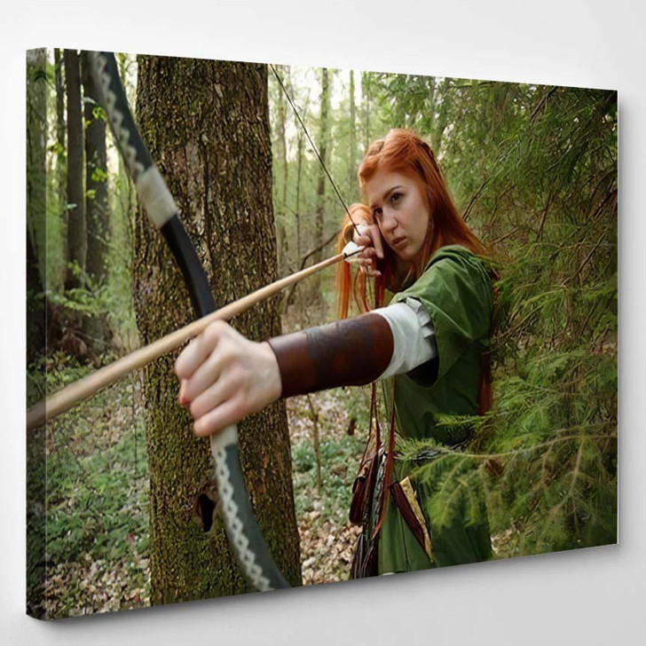 Beautiful Young Woman Very Long Red 1 - Hunting and Fishing Canvas Art Print