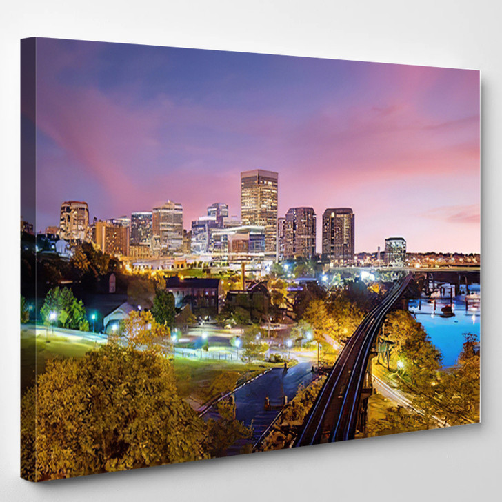 Downtown Richmond Virginia Skyline And The James River At Twilight - Landscape Canvas Art Print