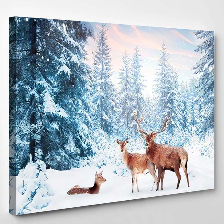 Family Noble Deer Snowy Winter Forest 1 1 - Hunting and Fishing Canvas Art Print