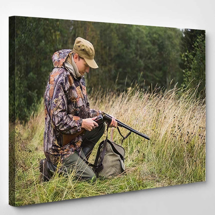 Hunter Backpack Hunting Gun Autumn Forest - Hunting and Fishing Canvas Art Print