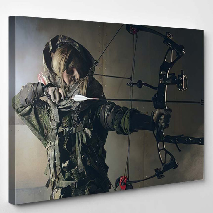 Woman Soldier Bow Fantasy Post Apocalypse - Hunting and Fishing Canvas Art Print